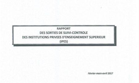 Rapport 2017 des sorties de suivi-contrôle des institutions privées d'enseignement supérieur (IPES)